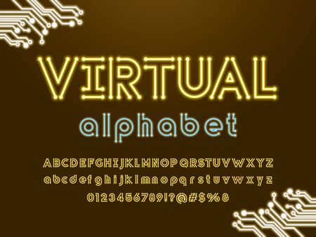 virtual text Vector of circuit board neon light alphabet design