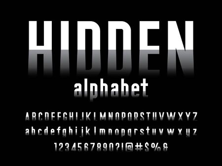 Hidden shadow style alphabet design with uppercase, lowercase, numbers and symbols