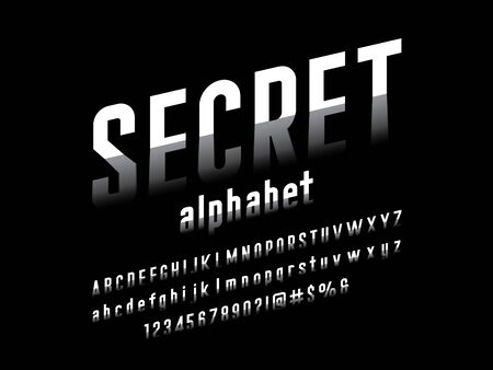 secret shadow style alphabet design with uppercase, lowercase, numbers and symbols