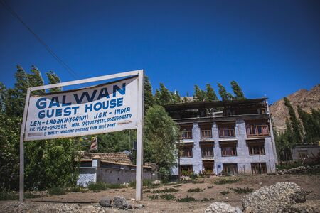 17 June 2019, Leh - India: One of the many Tibetan style guesthouse in Leh, India.