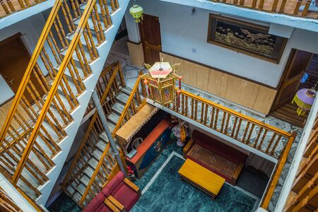 17 June 2019, Leh - India: The interior view of the Tibetan style guesthouse in Leh, India.