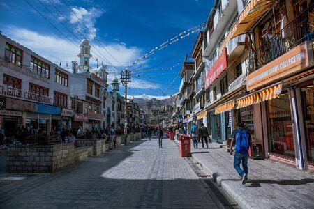 Leh, India – 19 June 2019: Main market at the downtown of Leh City