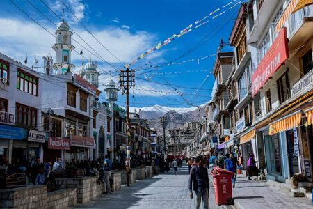 Leh, India - 19 June 2019: Main market at the downtown of Leh City