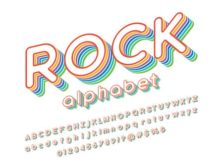 rock text Vector of stylized colorful alphabet design