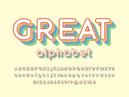 great text Vector of stylized colorful alphabet design