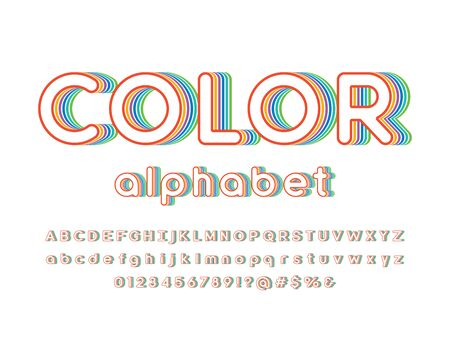 color text Vector of stylized colorful alphabet design