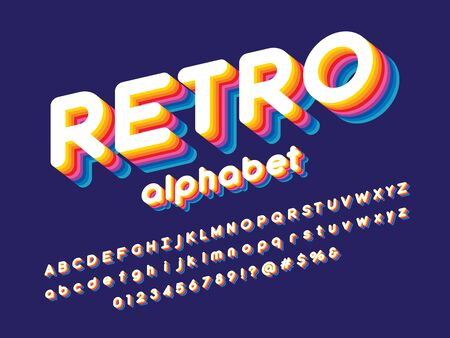 retro text Vector of stylized colorful alphabet design Illustration