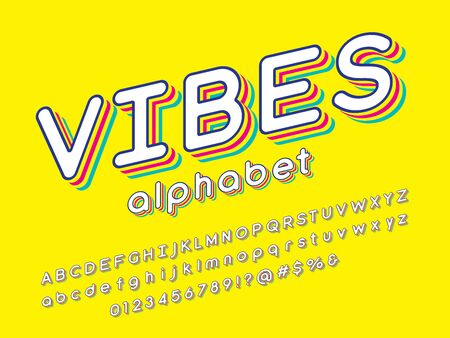 vibes text Vector of stylized colorful alphabet design