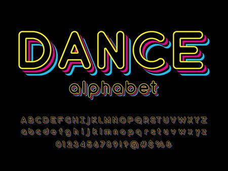 dance text Vector of stylized colorful alphabet design