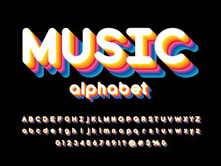 music text ector of stylized colorful alphabet design