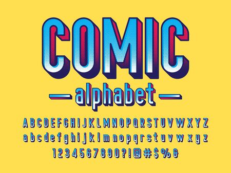 comical halftone style alphabet design Illustration
