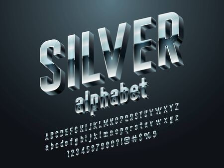 Vector set of modern chrome alphabet design