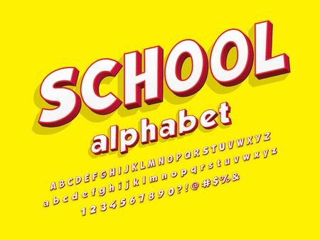 school stylized colorful alphabet design