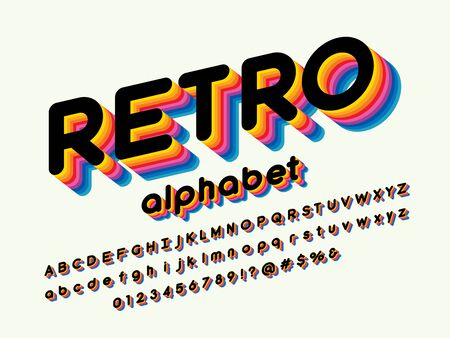 retro stylized colorful alphabet design