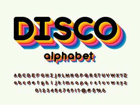 disco stylized colorful alphabet design Illustration