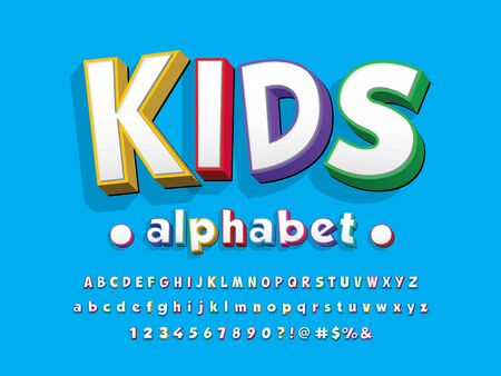 kids stylized colorful alphabet design Illustration