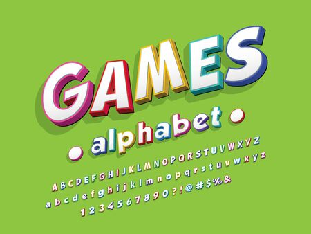 games stylized colorful alphabet design