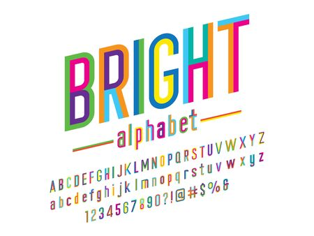 bright Trendy style colorful alphabet design Illustration