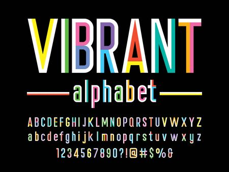 vibrant Trendy style colorful alphabet design Illustration