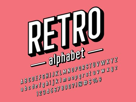 retro modern condensed bold alphabet design Illustration