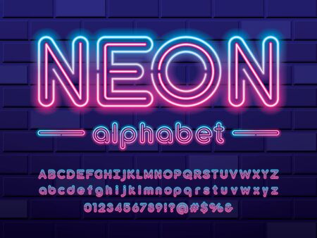 Glowing neon light alphabet design with uppercase, lowercase, numbers and symbol Stock Vector - 126425954