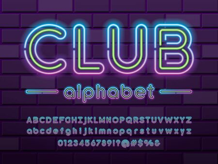 Glowing neon light alphabet design with uppercase, lowercase, numbers and symbol Illustration