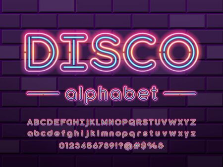 Glowing neon light alphabet design with uppercase, lowercase, numbers and symbol Stock Vector - 126425958