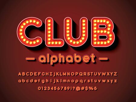 club text light bulb style alphabet design with uppercase, lowercase, numbers and symbols