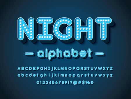 night text light bulb style alphabet design with uppercase, lowercase, numbers and symbols Illustration
