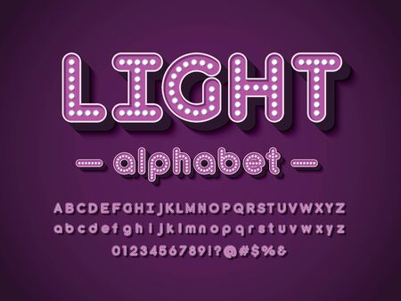 light bulb style alphabet design with uppercase, lowercase, numbers and symbols