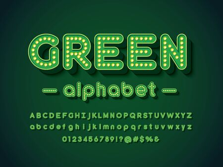 green light bulb style alphabet design with uppercase, lowercase, numbers and symbols