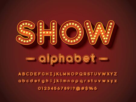 show light bulb style alphabet design with uppercase, lowercase, numbers and symbols Illustration