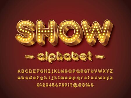 light bulb style alphabet design with uppercase, lowercase, numbers and symbols Stock Vector - 126858601