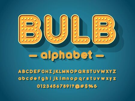 light bulb style alphabet design with uppercase, lowercase, numbers and symbols Stock Vector - 127955645