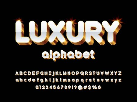 Vector glossy 3D golden alphabet design Stock Vector - 127955648