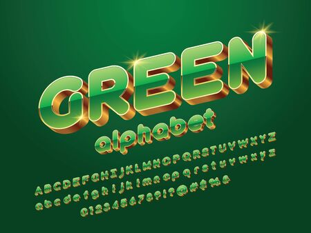 Vector glossy 3D golden alphabet design Illustration
