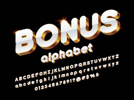 Vector glossy 3D golden alphabet design Stock Vector - 127955669