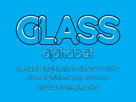 Clear transparency alphabet design with uppercase, lowercase, numbers and symbols
