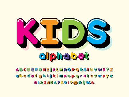 Colorful stylized kids alphabet design Illustration