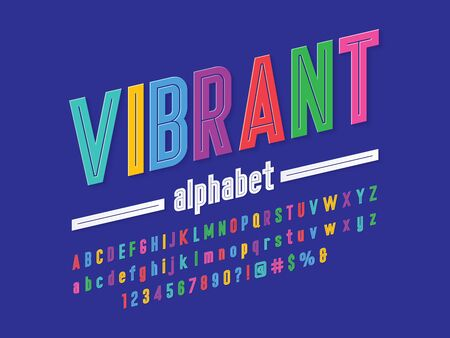 Colorful stylized alphabet design with uppercase, lowercase, numbers and symbols Stock Vector - 127955680