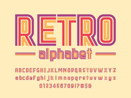 Retro style colorful alphabet design with uppercase, lowercase,numbers and symbols