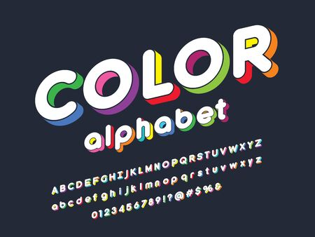 Colorful stylized alphabet design with uppercase, lowercase, numbers and symbols Stock Vector - 127955682