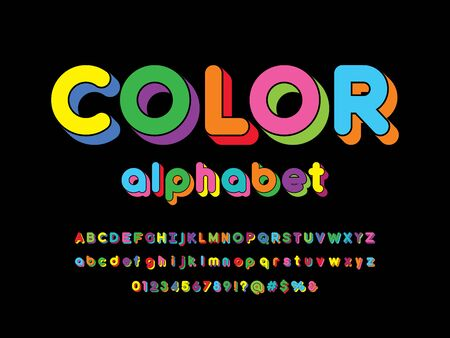 Colorful stylized alphabet design with uppercase, lowercase, numbers and symbols Illustration