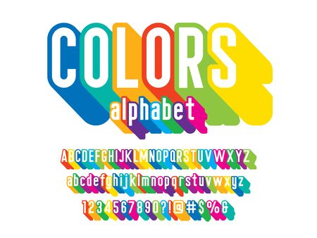 Colorful stylized alphabet design with uppercase, lowercase, numbers and symbols Stock Vector - 127955685