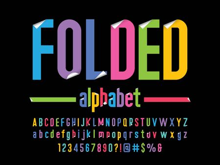 Paper folding sticky note style alphabet design