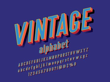 Retro style alphabet design with uppercase, lowercase, number and symbols Illustration