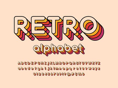 text Retro style alphabet design with uppercase, lowercase, number and symbols Stock Vector - 128327849