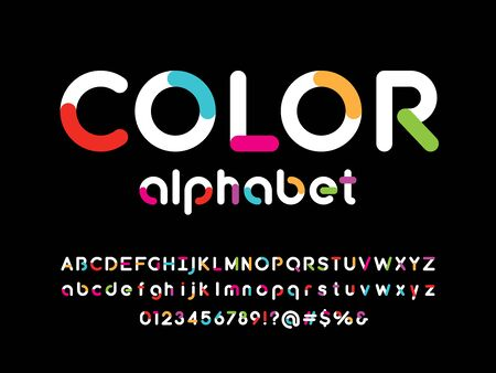 Colorful style alphabet design with uppercase, lowercase, number and symbols Stock Vector - 128327848