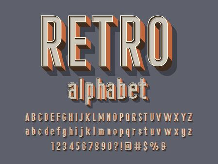 Retro style alphabet design with uppercase, lowercase, number and symbols Stock Vector - 128327853