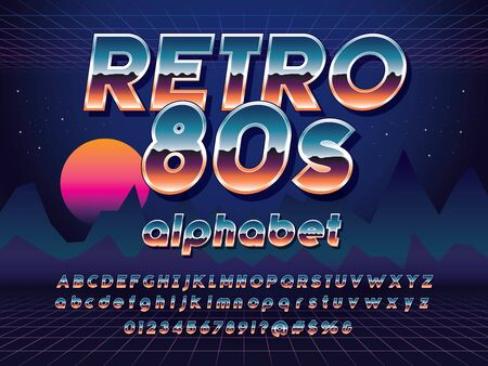 Vector of 80s stylized retro alphabet design with metallic effect Stock Vector - 128327855